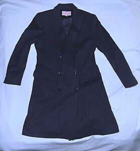 new styles 44022 0dff8 Details about BYBLOS Italy -Wool Cashmere blend 3/4 Length Trenchcoat-Size  42=Small-Navy-Nice