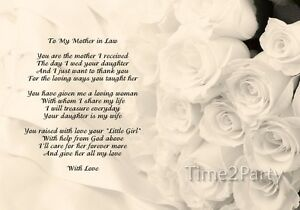 Image Is Loading A4 Wedding Poem To My Mother In Law