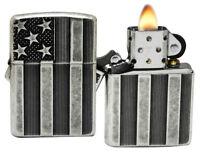 Zippo 28974 Armor Deep Cut Flag Antique Silver Plate Windproof Lighter