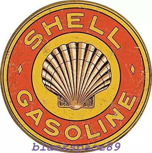 Metal Tin Sign round shell gasoline decor Bar Pub Retro Poster 30cm diameter