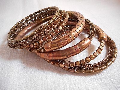 Spring Street Metal Coil Bracelet in a Rich Brown Copper Tone