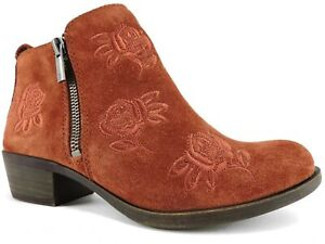 Lucky Brand Women's Basel Booties Red Oak Oiled Suede Size 9 M