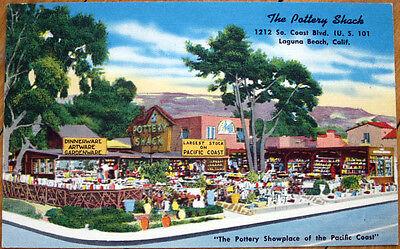 1940s Linen Advertising Postcard Pottery Shack Laguna