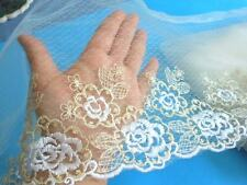 """Gold and White Floral Embroidered Tulle Lace Trim/Fabric for Sewing/11""""  Wide"""