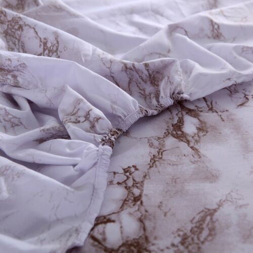4Pieces Marble Bed Sheet Set Deep Pocket Comforter Cover Soft King Queen Size AU