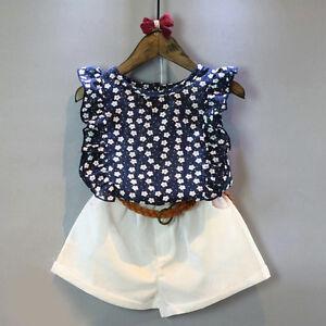 3pcs Enfants Bébé Fille Tenue D Eté Vêtements T-Shirt Haut+ Short ... db792c2eff9