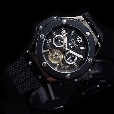 HUB STYLE Men Tourbillon Automatic Mechanical Rubber Army Big Bang Sport Watch