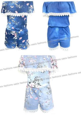 Ladies Italian Bardot Off Shoulder Denim Short Lace Trim Summer Playsuits