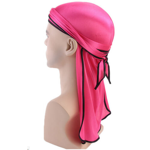 Men Silk Durag Bandana Sport Du-Rag Scarf Head Zandana Tie Down Band Biker Cap/&
