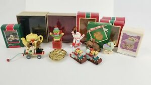 Lot-of-8-Hallmark-Ornaments-Christmas-Santa-Winter-Fun-1970s-80s-90s