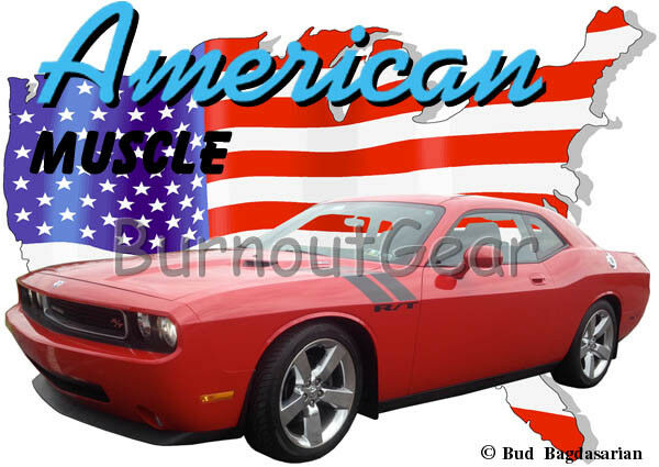 2009 rosso Custom Dodge Challenger RT Custom rosso Hot Rod USA T-Shirt 09 Muscle Car Tees f4285b