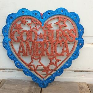 HL Patriotic Decor - God Bless America Glitter Heart Sign