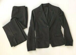 Mastina-Womens-Pinstripe-Rayon-Blend-Grey-Jacket-And-Pants-Suit-Set-Size-38