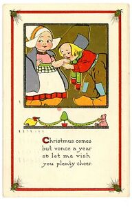 Merry Christmas In Dutch.Details About Merry Christmas Loving Dutch Children S Bergman Postcard Embossed Gold Kiss