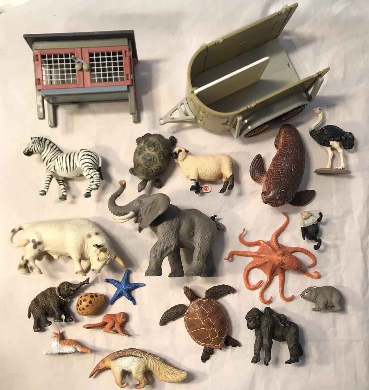 Papo Safari figures lot Schleich Animals Farm Wild Elephant Bull Turtle Hutch