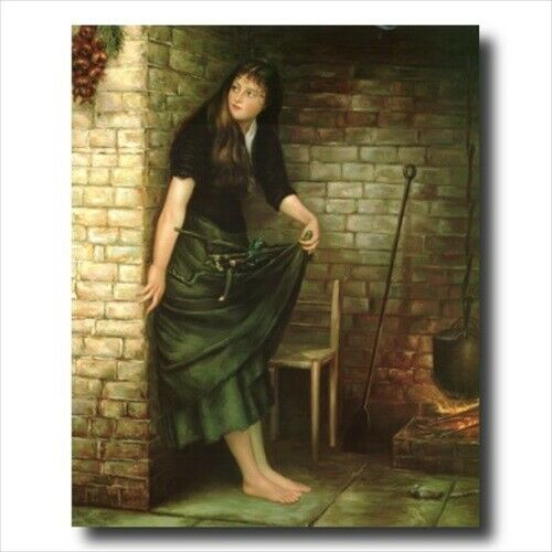 Victorian Cinder Girl At Stove Contemporary Wall Picture Gold Framed Art Print