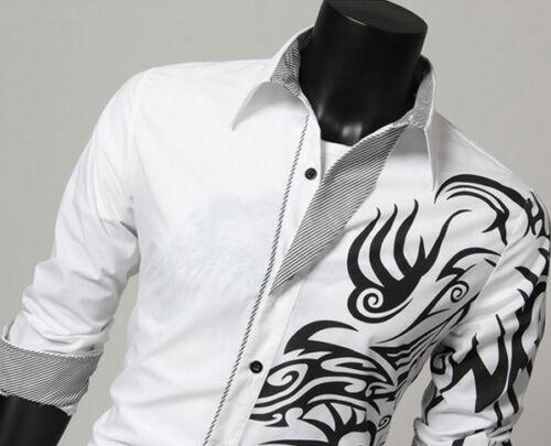 Men Slim Fit Casual Formal Business Long Sleeve Dress Shirts Tops Plain T Shirt
