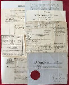 1834-1874 CARGO SHIP DOCUMENTS - BOSTON - ROTTERDAM - CALCUTTA - GLOUCESTER