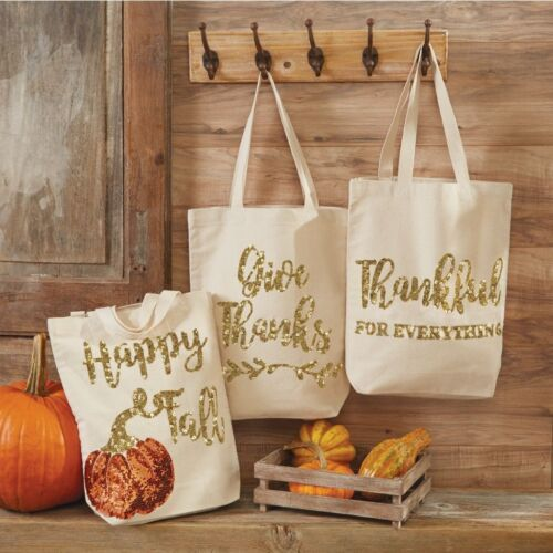 Mud Pie H7 Fall Thanksgiving Sequin Canvas Tote 15x13in 8613337 Choose Design