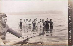 ybh-Real-Photo-Postcard-Group-of-People-in-Water-A-Clam-Bay-on-Pugent-Sound
