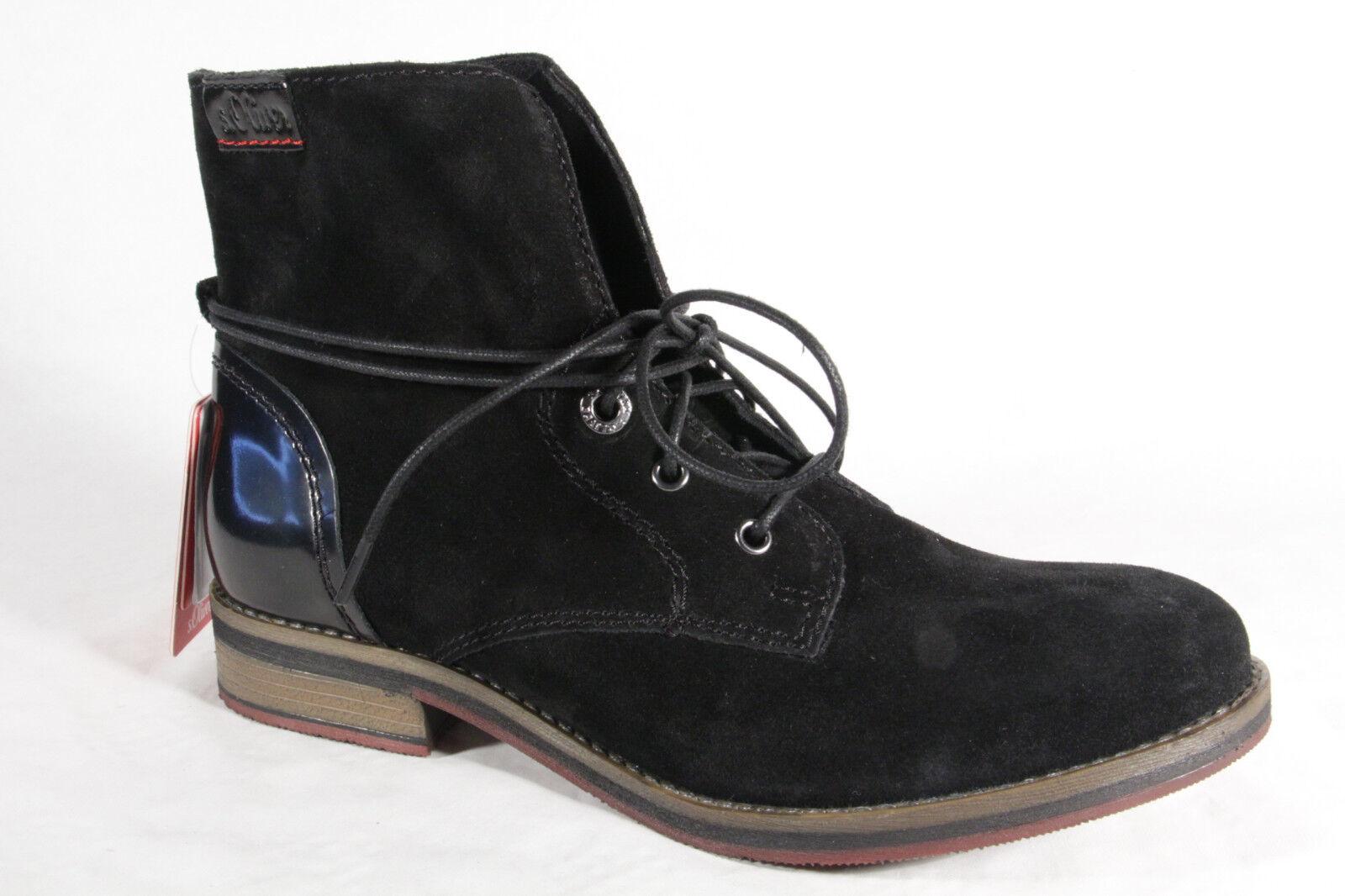S. Oliver Oliver S. botas de cordón, Botines, botas, cuero auténtico, negro 25203 NUEVO b86092