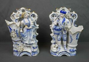 Rare Antique White & Blue Viennese Porcelain Victorian Figurines Vases Bookends