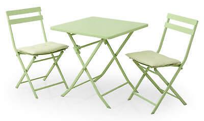 Set Tavolino e 2 Sedie Pieghevoli da Giardino in Acciaio Kraus Tiziano Bianco