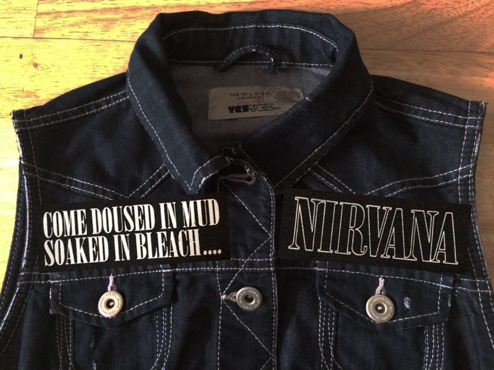 Nirvana In Utero Angel Girls Denim Cut-Off Waistcoat Vest Come As You Are Grunge