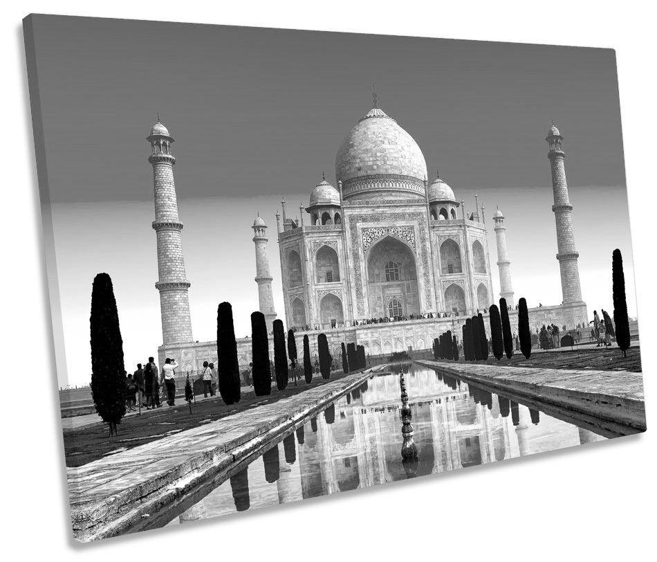 Taj Mahal India Landmarks B&W SINGLE CANVAS Wand Kunst Framed Drucken