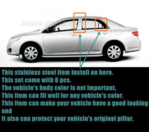 Stainless Steel Chrome Door Pillar Post Trims For Toyota Corolla Sedan 2009-2013