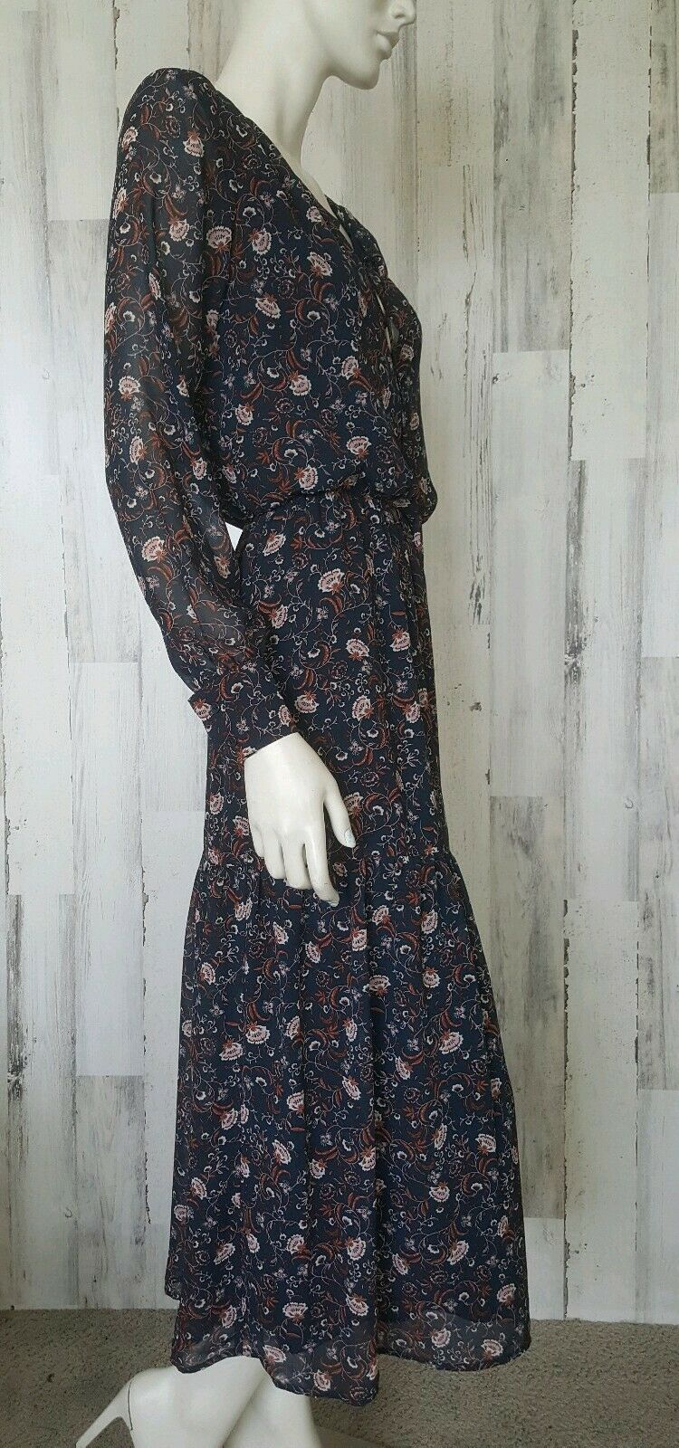 WAYF maxi floral navy bluee Dress sz S NWOT