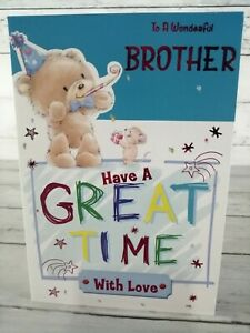 Birthday Card For A Wonderful Brother Have a Great Time, Bear & Mouse, Blue