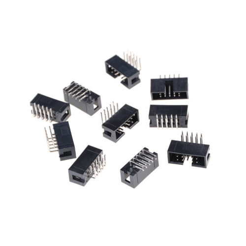10PCS DC3-10P 2.54mm 2x5 Pin Right Angle Male Shrouded header IDC Socket BHQ