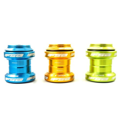 "FSA Orbit MX Threadless Bike Headset 1-1//8/"" 34mm w// Top Cap Gold Green Blue"