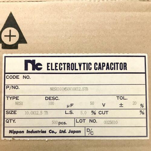 Radial 105ºC 100uF 50V Electrolytic Capacitor Nic NRSX Series PKG of 10