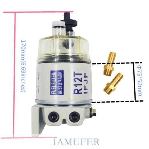 4 packs Gasoline Diesel Marine Spin-on Fuel Filter Water Separator R12T 120AT