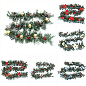 Pre-Lit Decorated Christmas Garland 9ft with 50 Led Lights ...