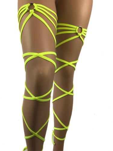 Exotic Dancewear Wraps Leg Garter Rave Outfit Gartini Clubwear Stripperwear UV