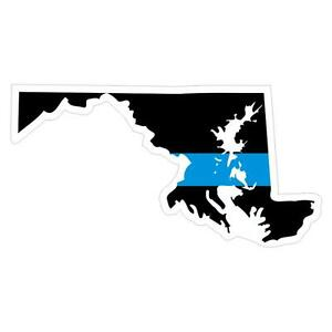 Maryland-MD-State-Thin-Blue-Line-Police-Sticker-Decal-185-Made-in-U-S-A