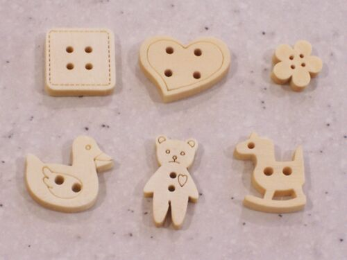 boutons bois coeur-FREE P/&P canetons Teddy bear rocking horse carré