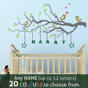 Details about PERSONALISED NAME kids boy girl nursery FAMILY TREE birds  wall art sticker decal