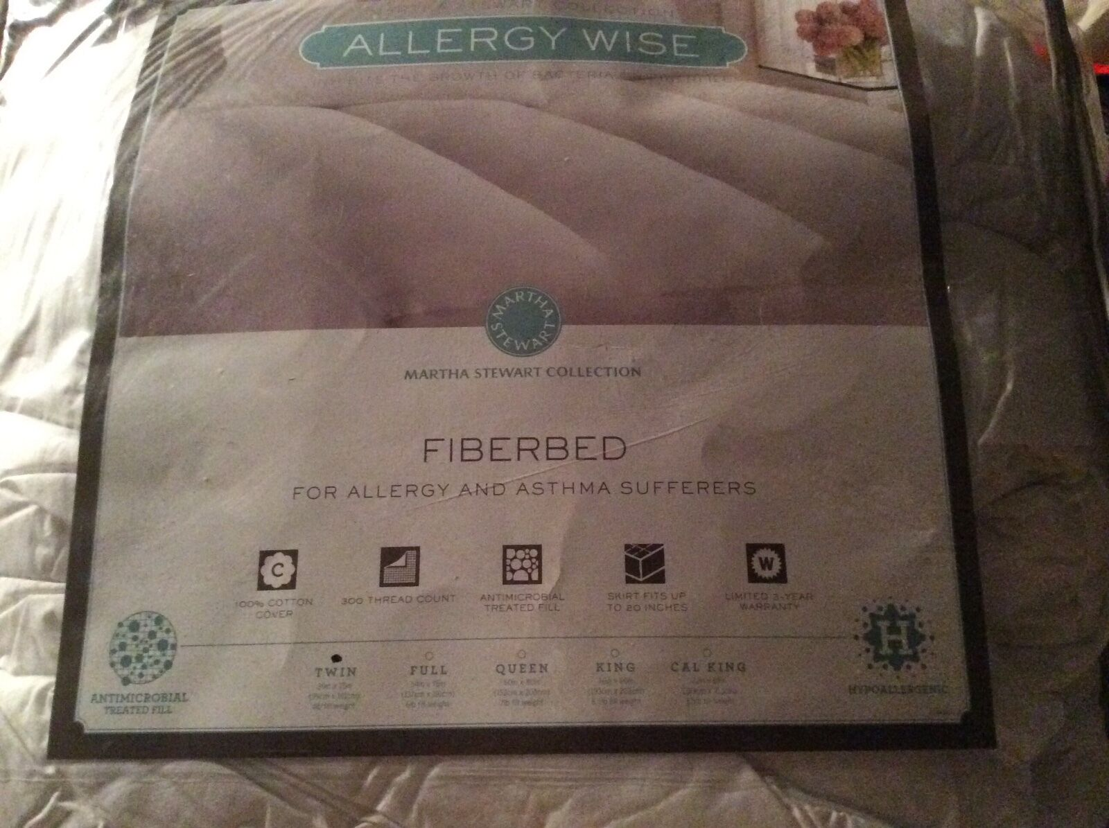 Martha Stewart Collection Fiberbed Allergy Wide Wide Wide Twin Hypoallergenic New de8fe9