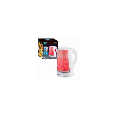 Quest White Portable Electric Kettle Blue LED Illuminated 1.7L 360° Cordless