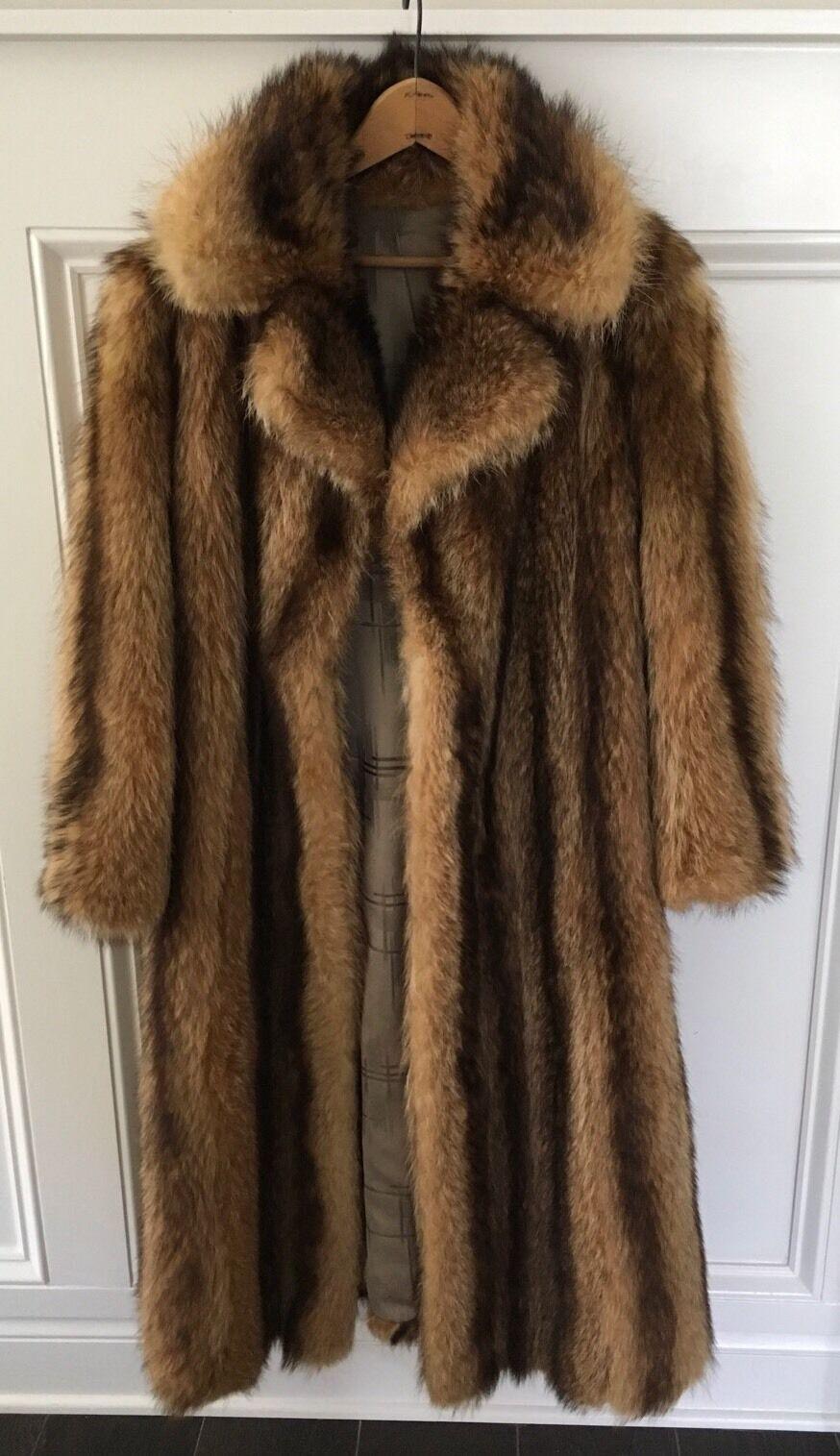 Äkta TANUKI Natural Raccoon bspringaa, gulden Fur Mid -längd Coat; SZ Liten (4 -8)