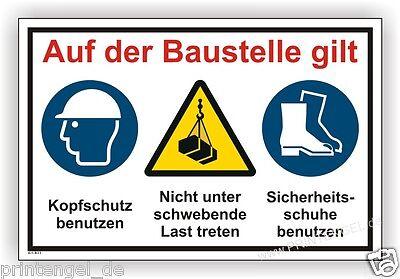 Business & Industrie Sonstige Schild,baustelle,bauschild,helmpflicht,sichrheitsschuhe Tragen,achtung Kran B23