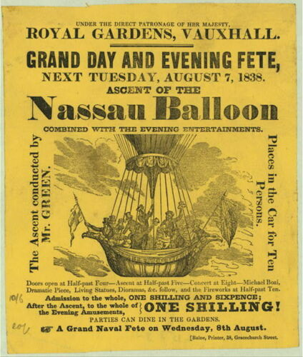 Royal Gardens,Vauxhall,Ascent of Nassau Balloon,Charles Green,London,England