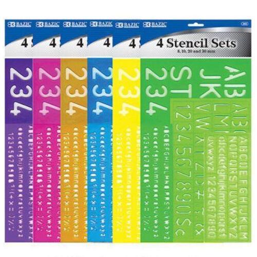 """4 piece SET 1-1//8/"""" Alphabet Letters /& Numbers Stencils Plastic CHOOSE COLOR"""