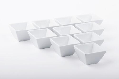 10x Tapas Schälchen Porzellan Dip-Schüssel Dessert Beilagen 8 x 8 x 5 cm weiß