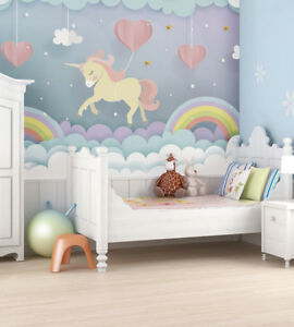 Details About Unicorn Dream Rainbow Clouds Love Heart Children S Nursery Wall Mural Art