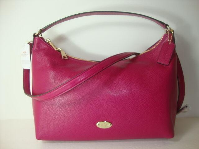 8cd2f00b7a Coach F36628 Celeste Pebbled Leather Hobo Shoulder Bag Cranberry for sale  online